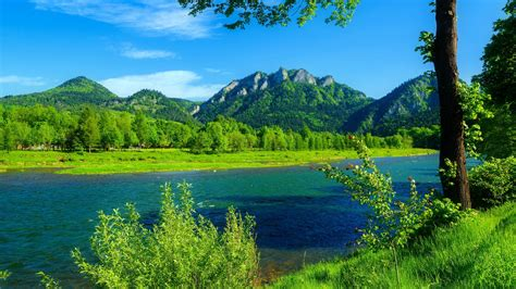 River Dunajec Poland-summer-landscape-Mountains with ...