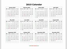 Download Blank Calendar 2019 12 months on one page