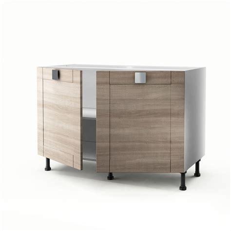 meuble de cuisine 120 cm meuble de cuisine sous évier décor chêne 2 portes karrey h 70 x l 120 x p 56 cm leroy merlin