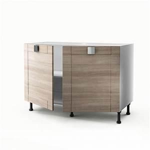 Meuble Sous Evier 120 : meuble de cuisine sous vier d cor ch ne 2 portes karrey h ~ Nature-et-papiers.com Idées de Décoration