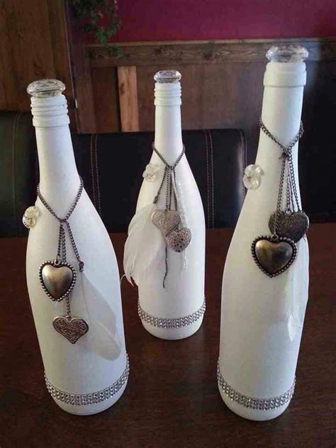 decorative bottles white painted wine bottle  hearts