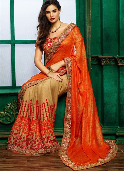 buy orange colour georgette  silk chiffon designer