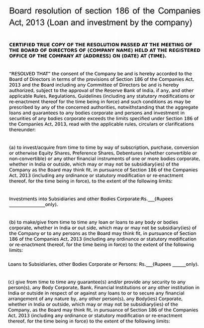 Resolution Board Loan Act Companies Section Company