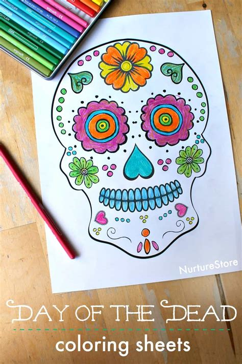 day   dead skull coloring sheets  children nurturestore