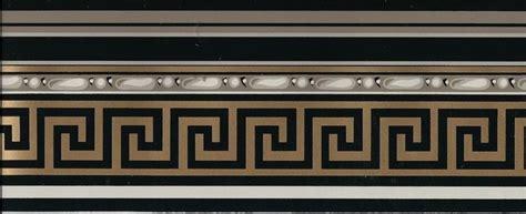 victorian architectural gold greek key  black wallpaper