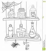 Coloring Pantry Potion Magic Template Doodle Witch Shelf sketch template