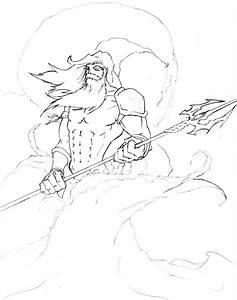 Poseidon Greek God Drawing Sketch Coloring Page