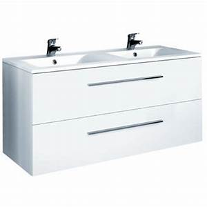 Meuble Sous Vasque 100 Cm : meuble blanc 2 vasque 120 cm dans meuble salle de bain ~ Teatrodelosmanantiales.com Idées de Décoration