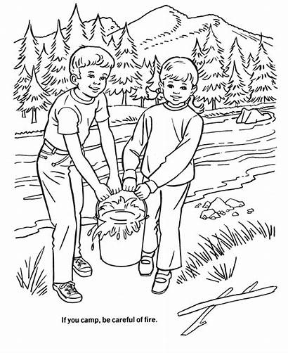 Coloring Fire Pages Arbor Camping Safety Forest