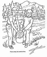 Coloring Pages Arbor Fire Forest Camping Safety Clipart Trees Put Nature Colouring Honkingdonkey Camp Holiday Tree Planting Care Park Scene sketch template
