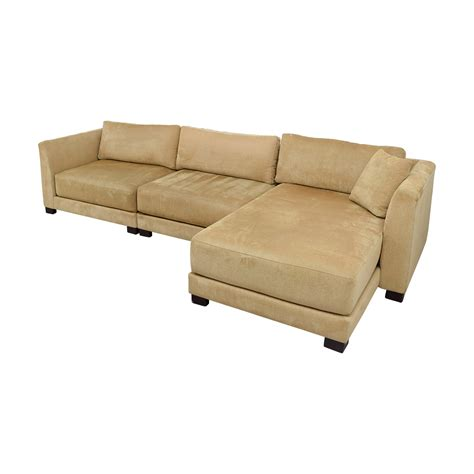 88 Off Tan Three Piece Chaise Sectional Sofas
