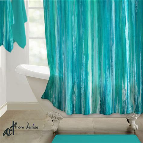 shower curtain teal turquoise aqua blue abstract design