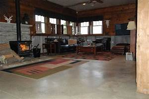 Concrete Floor in Home - Eclectic - Living Room - columbus