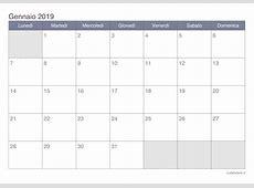 Calendario gennaio 2019 da stampare iCalendarioit