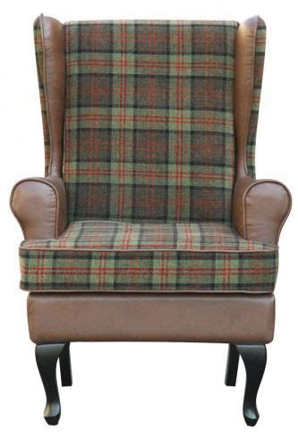 stirling tartan high back chair orthopedic fireside arm
