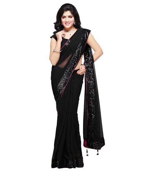 black saree blouse sarees black faux chiffon plain saree with blouse