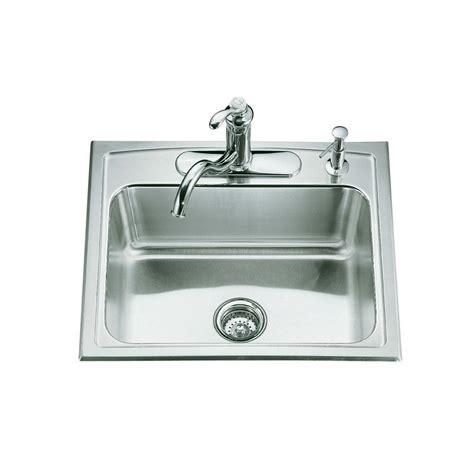 single basin drop in kitchen sink kohler toccata drop in stainless steel 25 in 4 hole