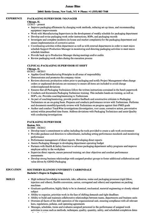 Resume For Packaging by Packaging Supervisor Resume Sles Velvet