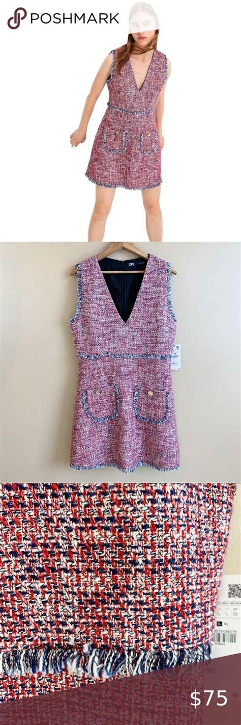 New ZARA sleeveless tweed dress v-neck pockets L New with ...