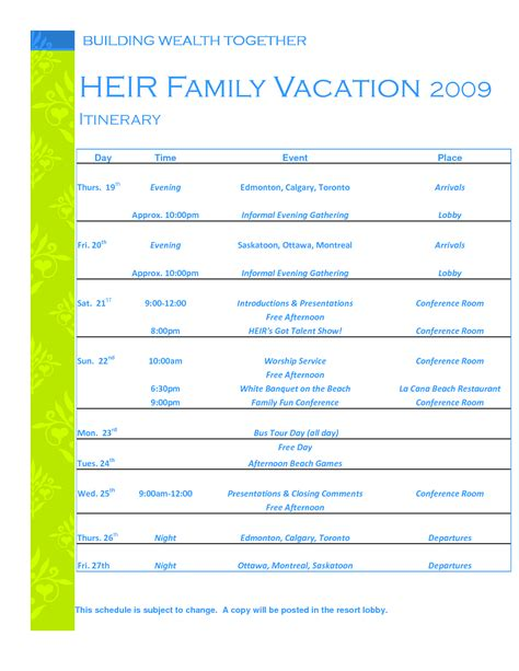 family vacation planner template printable planner template