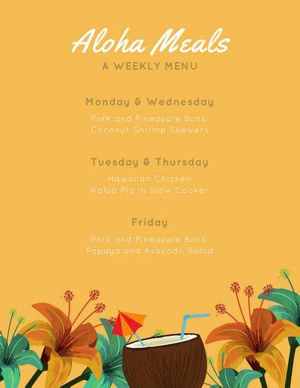 yellow hawaiian weekly menu templates  canva