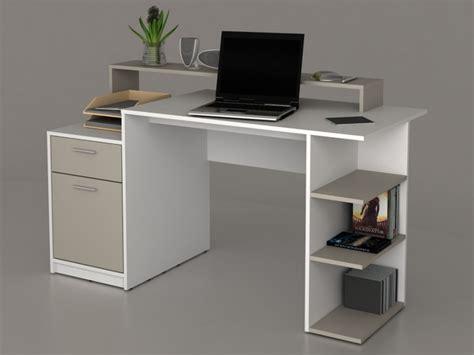 bureau et blanc bureau zacharie ii 1 tiroir 1 porte blanc taupe