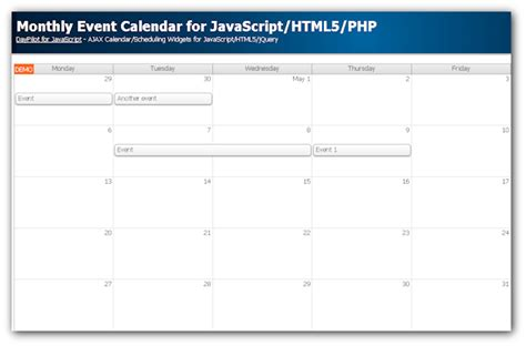 monthly event calendar javascript php tutorial