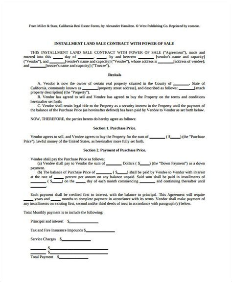 installment land contract form 7 land contract forms free sle exle format