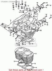 Honda Cb500t Twin Dohc 1975 Usa Cylinder    Cylinder Head