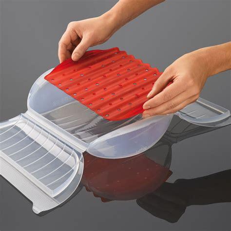 lekue silicone steam case  draining tray    person  quart clear cutlery
