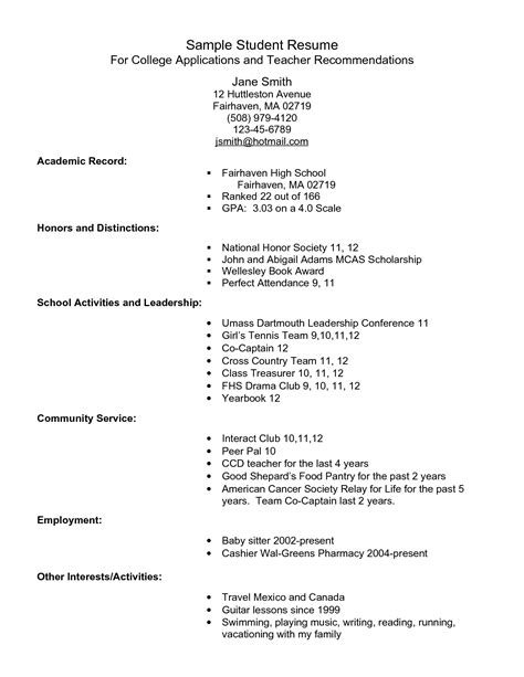Sle Resume Format For Application by Exle Resume For High School Students For College