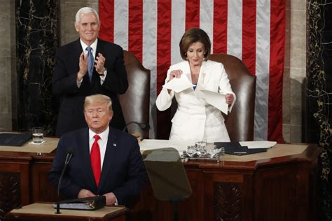 pelosi trump state union nancy speech ripping donald tears rips president sotu address rede speaker tear ap trumps pence hill