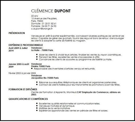 modele cv vente pret a porter document