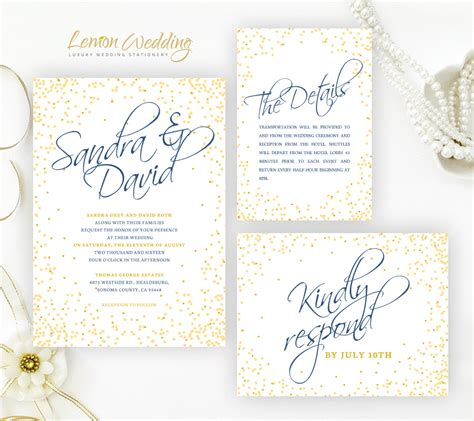 confetti wedding invitations lemonwedding