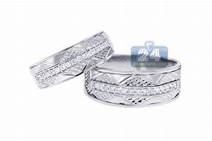 Diamond Wedding Bands Set For Him Her 18K White Gold 033 Ct
