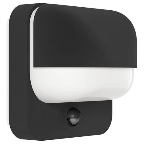 eglo 94853 trabada outdoor pir sensor wall light in black