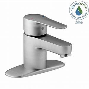 Kohler july single hole single handle low arc water saving for Water saving bathroom faucets