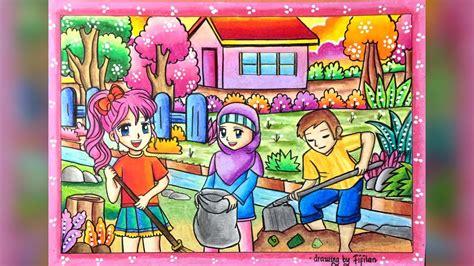 gambar  gradasi warna oilpastel tema gotong royong
