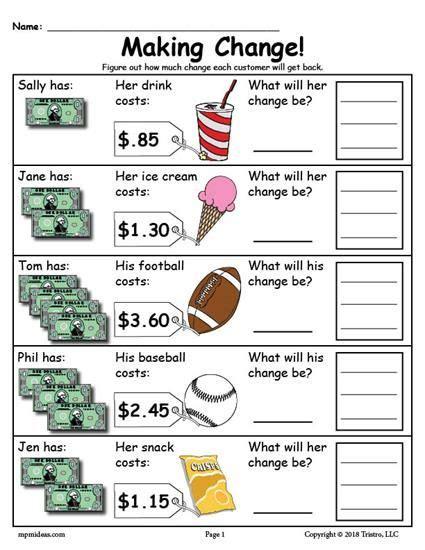 free printable change money worksheets 2 versions