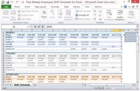 multiple employee work schedule template schedule