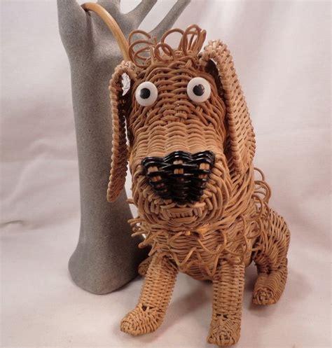 vintage wicker animal dog purse    original