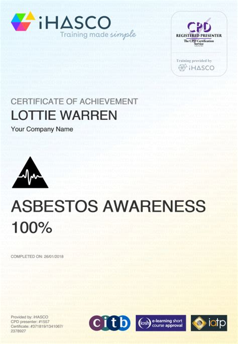 asbestos awareness training iatp iosh approved ihasco