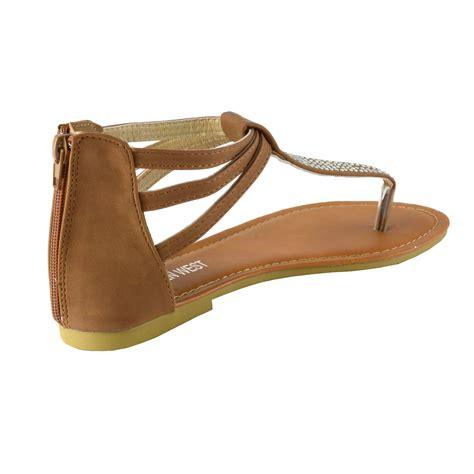 womens rhinestone  strap thong ankle strap  zip