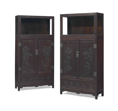 kitchen display cabinet a pair of zitan square corner display cabinets christie s 1557