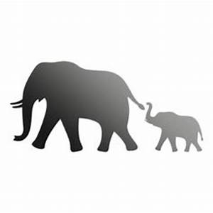 MOTHER & BABY ELEPHANT SILHOUETTE (Safari Animal Decor ...