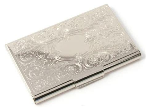 Silver Embossed Etched Floral Damask Slim Business