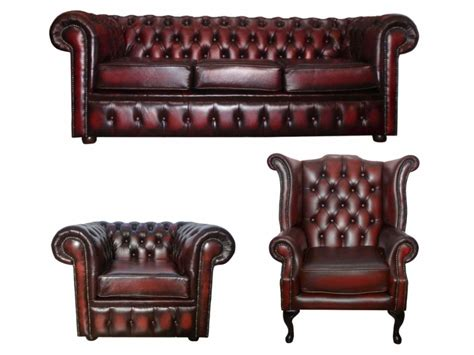Chesterfield Real Leather 3 Seater & Queen Anne & Club Chair