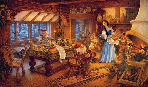 grimms fairy tales images snow white    dwarfs