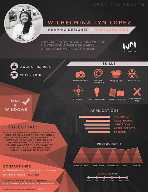 Creative Graphic Artist Resume 25 best ideas about graphic designer resume on