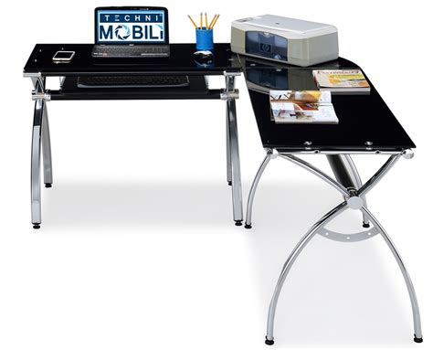 techni mobili l shaped computer desk black glass rta